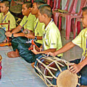 Rhythm Section In Traditional Thai Music Class  At Baan Konn Soong School In Sukhothai-thailand Poster