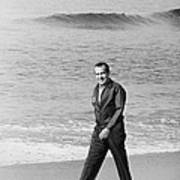 Richard Nixon Walking On The Beach Poster by Everett