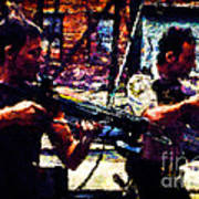 Rick And Daryl Clearing The Courtyard Poster