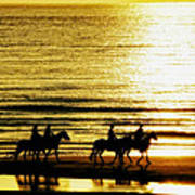Rider Silhouettes Against The Sea Poster