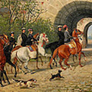 Riders At Uppsala Castle Poster