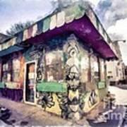 Riding High Skateboard Shop Watercolor Poster