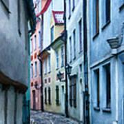 Riga Narrow Street Painting Poster
