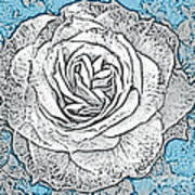 Ritzy Rose With Ink And Blue Background Poster