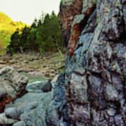 River Flowing Through Rocks, Black Poster