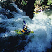 River Kayaking Over Waterfall, Crested Poster