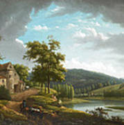 River Landscape With Farmhouse Poster