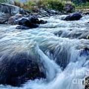 River Water Flowing Through Rocks At Dawn Poster