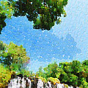 River Waterfall Painting Poster