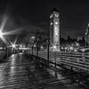 Riverfront Park Clocktower Seahawks Black And White Poster