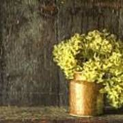 Rmonet Style Digital Painting Etro Style Still Life Of Dried Flowers In Vase Against Worn Woo Poster