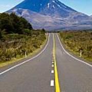 Road Leading To Active Volcanoe Mt Ngauruhoe In Nz Poster