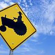 Road Sign Tractor Crossing Poster