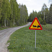 Road Sign With Carriage Poster by Ulrich Kunst And Bettina Scheidulin