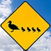 Roadsign Warning Ducks With Ducklings Crossing Poster