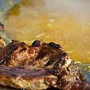Roasted Steak In Traditional Kotlovina Dish Poster