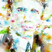 Robert Frost . Watercolor Portrait Poster
