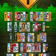 Robert Frost The Road Not Taken Poem Recycled License Plate Lettering Art Poster