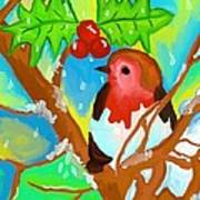 Robin On A Branch Poster