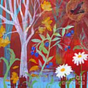 Robin's Blueberry Daisy Sunshiny Day Poster