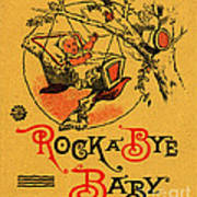 Rock A Bye Baby Sign With Cradle In Tree Branch.  Poster