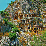 Rock-carved Tombs In Myra-turkey Poster