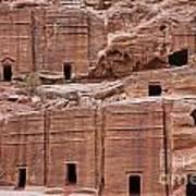Rock Cut Tombs On The Street Of Facades In Petra Jordan Poster