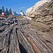 Rock Formations At Pemaquid Point Light Poster