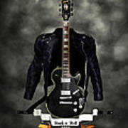 Rock N Roll Crest-the Guitarist Poster by Frederico Borges