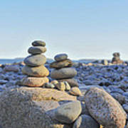 Rock Piles Zen Stones Little Hunters Beach Maine Poster