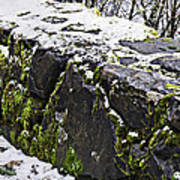 Rock Wall With Moss And A Dusting Of Snow Art Prints Poster