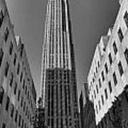 Ge Building In Black And White Poster