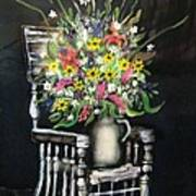 Rocking Chair With Flowers Poster