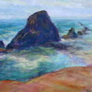 Rocks Heading North - Scenic Landscape Seascape Painting Poster