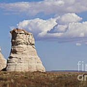 Rocky Buttes Protrude From The Middle Of Arizona Landscape Poster