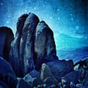 Rocky Cliff In Starlight Poster