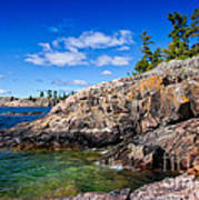 Rocky Coast And Clear Water Of Lake Superior Poster