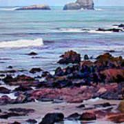 Rocky Coast Off San Simeon Poster