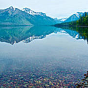 Rocky Mountain And Rocky Bottom Reflection In Lake Mcdonald In Glacier National Park-montana Poster