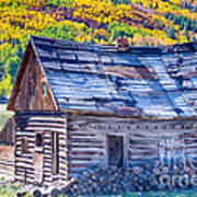 Rocky Mountain Rural Rustic Cabin Autumn View Poster