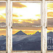 Rocky Mountain Sunset White Rustic Farm House Window View Poster