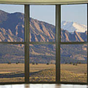Rocky Mountains Flatirons With Snow Longs Peak Bay Window View Poster