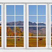 Rocky Mountains Horses White Window Frame View Poster