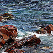 Rocky Shoreline - Coast -  Painterly Effects -  Panorama Poster