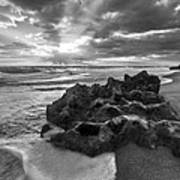 Rocky Surf In Black And White Poster