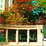 Roddick Gates Mcgill Campus Sherbrook Street Bus Autumn Downtown Montreal City Scenes Carole Spandau Poster