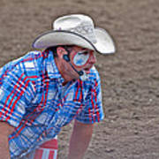 Rodeo Clown Cowboy In Dust Poster
