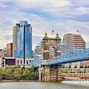 Roebling Bridge And Downtown Cincinnati 9850 Poster