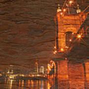 Roebling Bridge Stone N Wood Poster