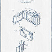 Roll Film Camera Patent From 1952- Blue Ink Poster